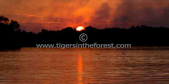 Sunset on the Cuiaba river in The Pantanal.